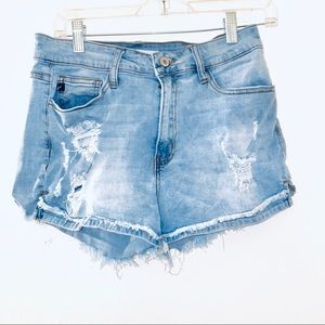 Kancan High waist jean Distressed Denim Shorts 28